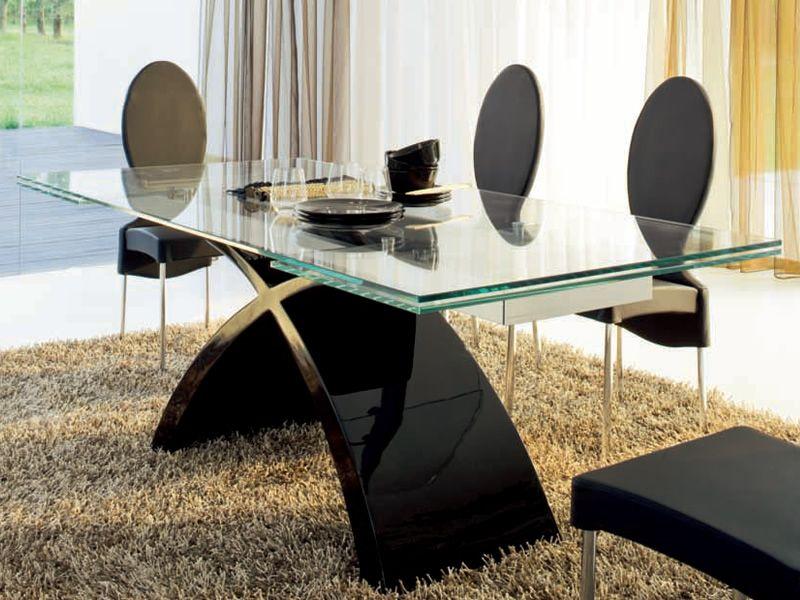 Tavolo In Vetro Nero.Tavolo Nero Allungabile Tavolino Da Salotto Vetro Moderno