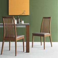 CB1432 Ikeda - Silla Connubia - Calligaris de madera con asiento acolchado y tapizado en simil piel, disponible en distintos colores