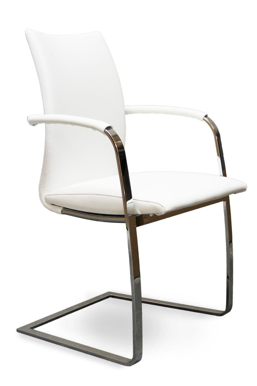 Swing P   Stuhl Mit Poliertem Stahlgestell Un Sitz Aus Weissem Leder