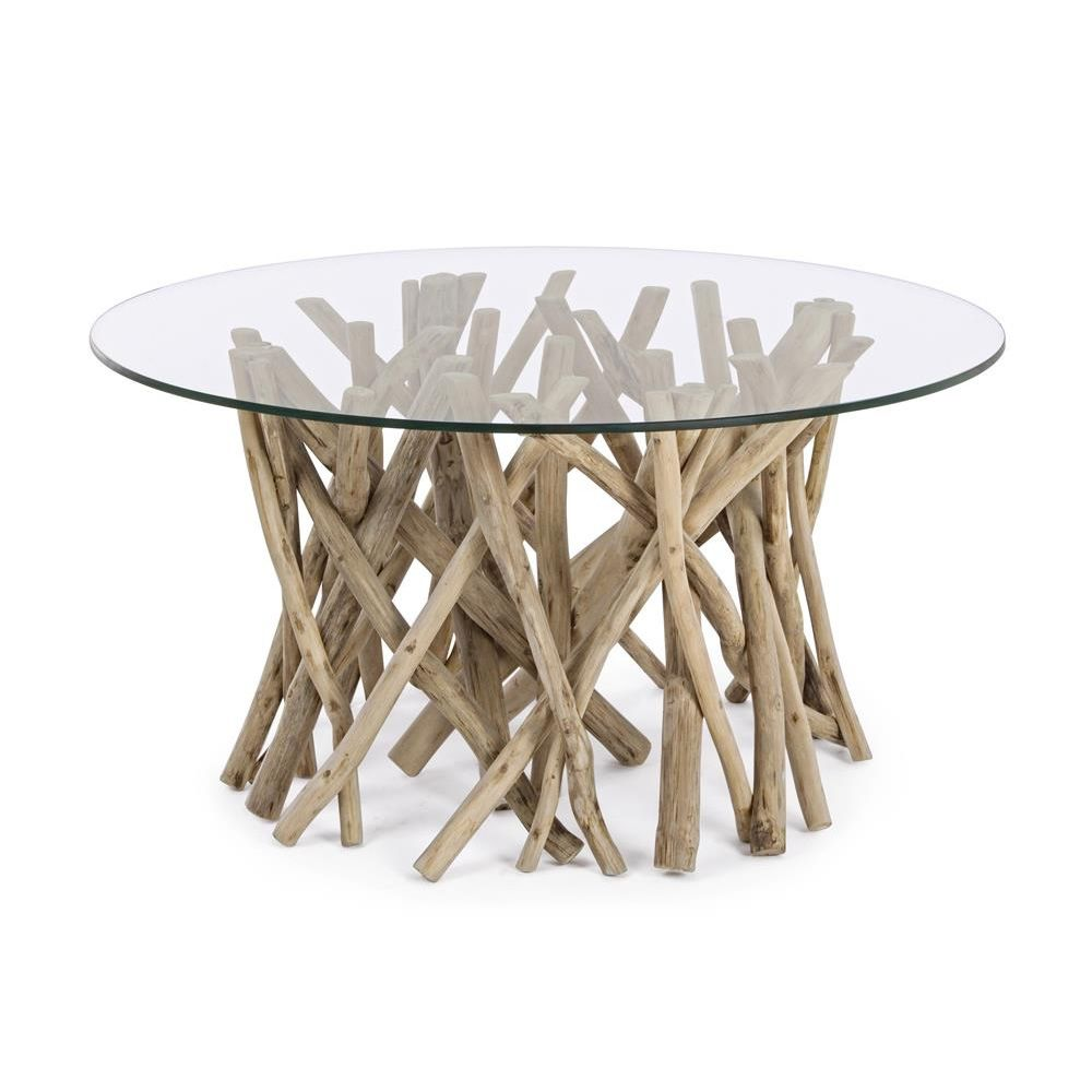Varese natural table basse design avec structure en bois - Table basse en bois naturel ...