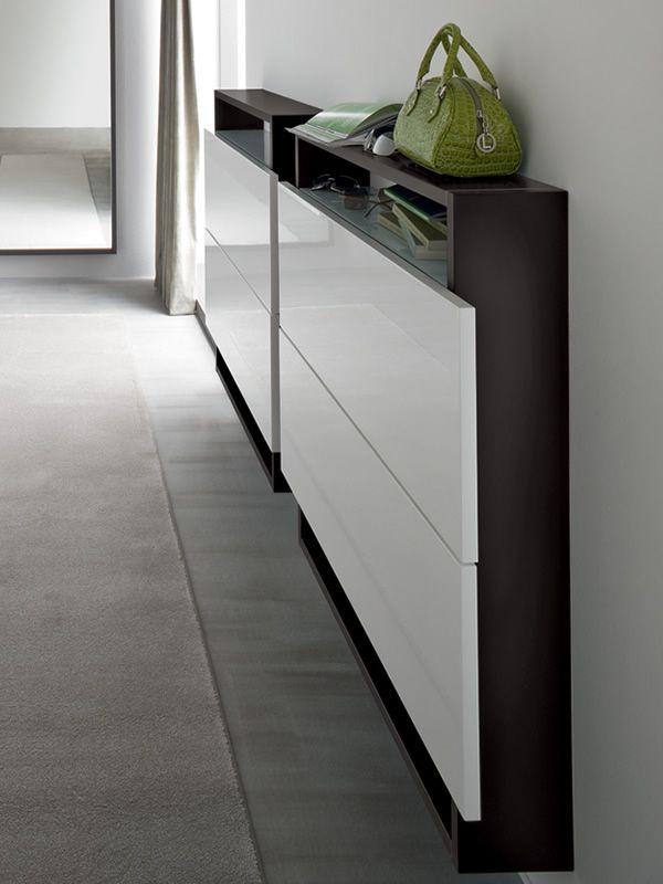 hosoi 106 meuble entr e suspendu porte chaussures avec deux portes diff rentes couleurs. Black Bedroom Furniture Sets. Home Design Ideas
