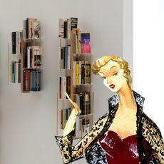 Zia Veronica S - Libreria di design, fissata a parete, in legno massello, disponibile in diverse dimensioni e colori
