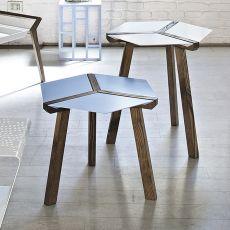Esa - Tavolino di desing Bontempi Casa, con struttura in legno e piano in acciaio laccato, diversi colori e finiture disponibili