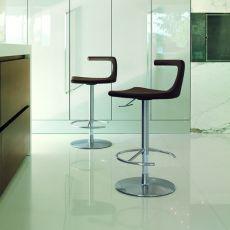 Geo - Sgabello Colico di design, in metallo, girevole e regolabile, seduta imbottita e rivestita, diversi colori disponibili