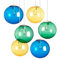 Spheremaker 6 - Pendant lamp Fatboy, with 6 spheres of coloured polycarbonate, LED bulb, available in different colour combinations
