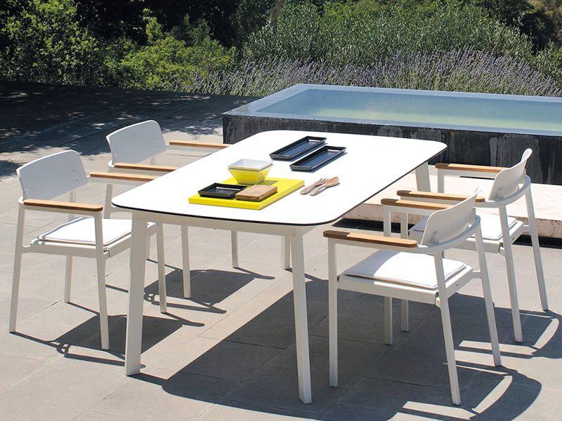 shine t3 tavolo emu in alluminio piano rettangolare in