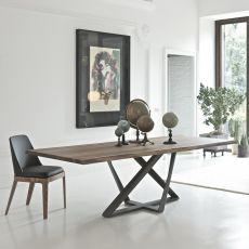 Millennium - Tavolo di design di Bontempi Casa, 200 x 106 cm fisso, con basamento in metallo e piano in legno o vetro, disponibile in diversi colori e dimensioni