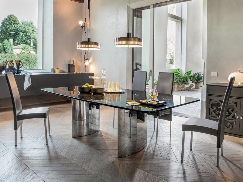 manhattan mesa fija de acero inoxidable brillante con sobre de mrmol negro marquinia