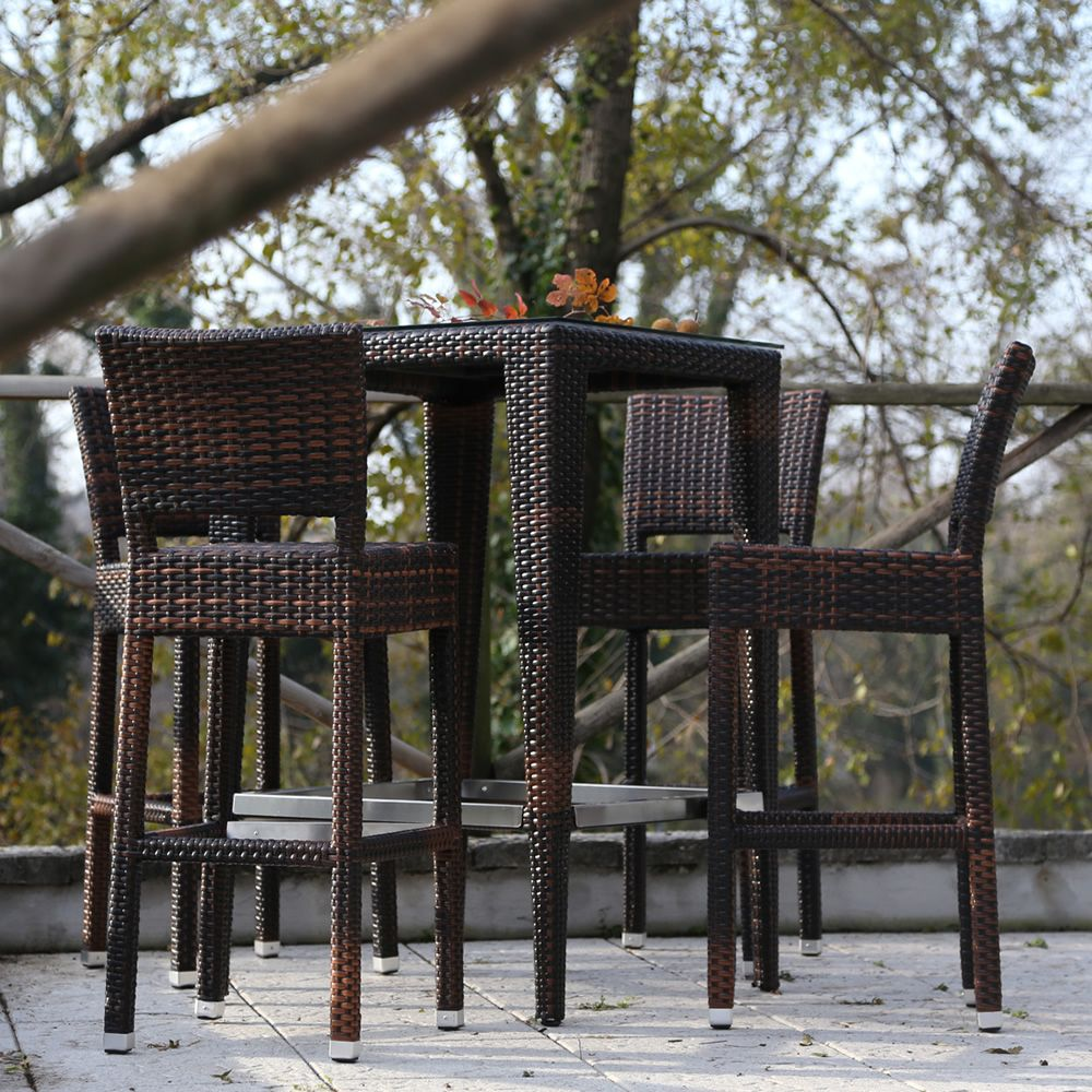 Komodo Bar High Table In Aluminium And Synthetic Rattan For Outdoor 70x70 Cm 110