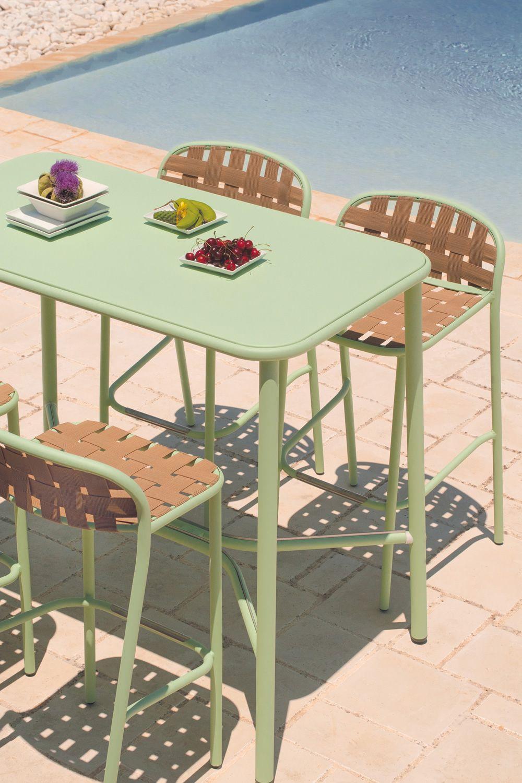 Yard t5 pour bars et restaurants table haute en aluminium plan de travail rectangulaire - Table haute plan de travail ...