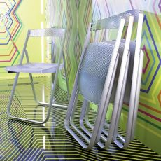 Honeycomb - Folding chair Kartell, in alluminum with seat in polycarbonate in various colours, also for outdoor