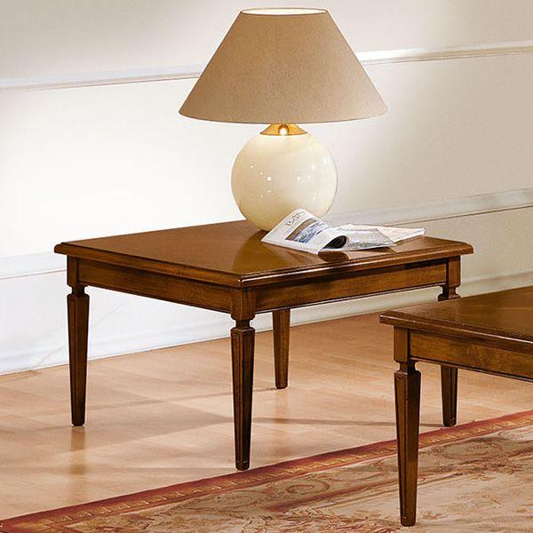 iacco table basse classique en bois peint en noyer antique 80x80 cm. Black Bedroom Furniture Sets. Home Design Ideas