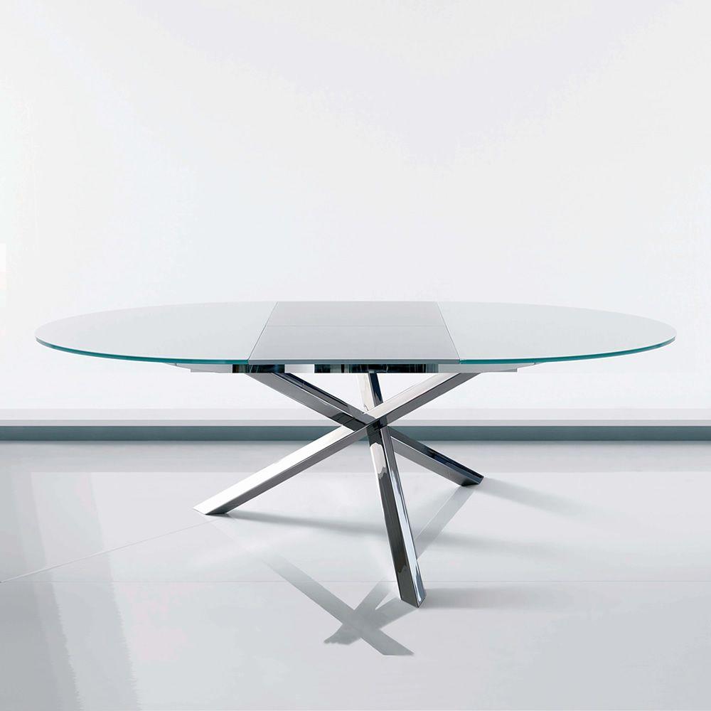 Tavolo Tondo Allungabile Cristallo.Tucson Ext 42 47 Tavolo Rotondo Di Design In Metallo Con Piano
