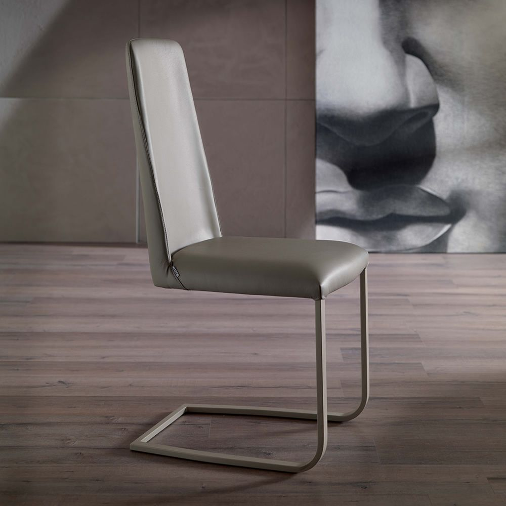 jazz chaise moderne traineau en m tal assise rev tue en cuir sediarreda. Black Bedroom Furniture Sets. Home Design Ideas