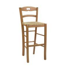 125 S - Sgabello alto rustico in legno, altezza 73 cm, diverse tinte disponibili, con sedile in legno, paglia o diversi tipi di tessuto