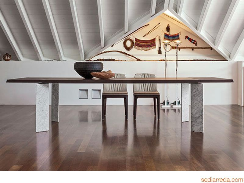 Roma 8068 verl ngerbarer tisch tonin casa aus holz oder for Carrara marmor tisch