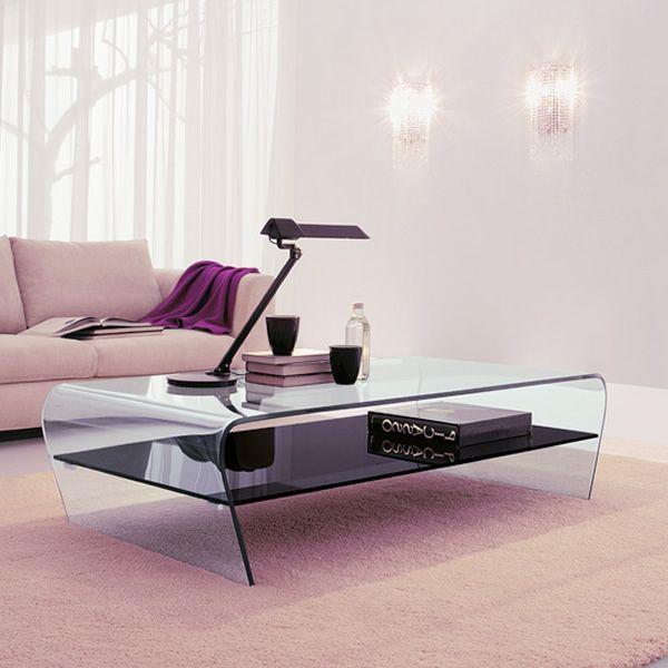Amaranto 6811 beistelltisch tonin casa aus glas mit fach for Beistelltisch mit fach