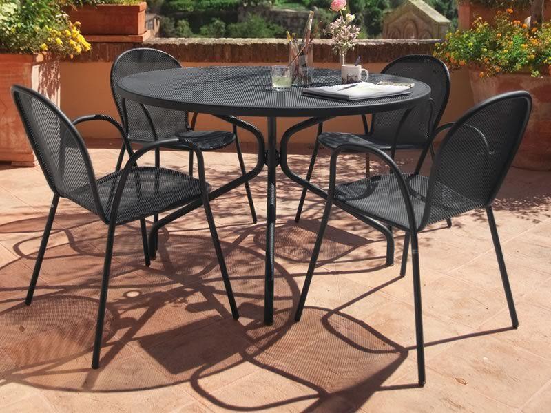 cambi r - tavolo emu in metallo, per giardino, piano tondo in ... - Metallo Patio Tavolo E Sedie Rotondo