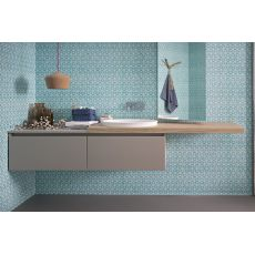 45 B - Mueble de baño colgado, con lavabo y 2 cajones, disponible en varios colores