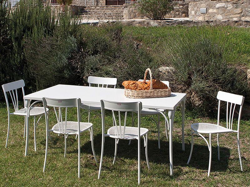 Retr t tavolo in metallo per giardino 80x80 cm o for Tavolo giardino metallo