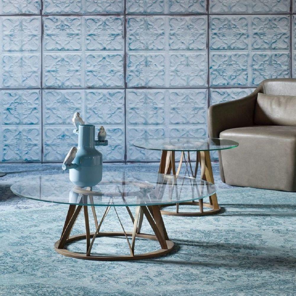 Acco table basse ronde miniforms en bois et verre sediarreda - Table basse ronde bois et verre ...