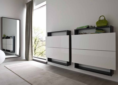 hosoi 106 meuble d 39 entr e suspendu porte chaussures dot de deux abattants disponible en. Black Bedroom Furniture Sets. Home Design Ideas