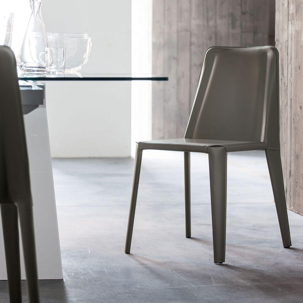 Dione sedia di design in metallo rivestita in cuoio - Sedia di design ...