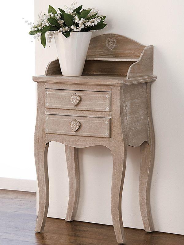 linosa consolle shabby chic in legno con cassetti