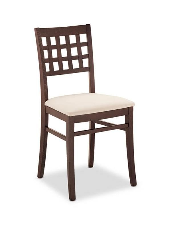 188 chaise en bois dot e d 39 assise en simili cuir sediarreda for Chaise quadrillage