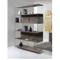 Byblos - Bookcase in transparent tempered glass with shelves