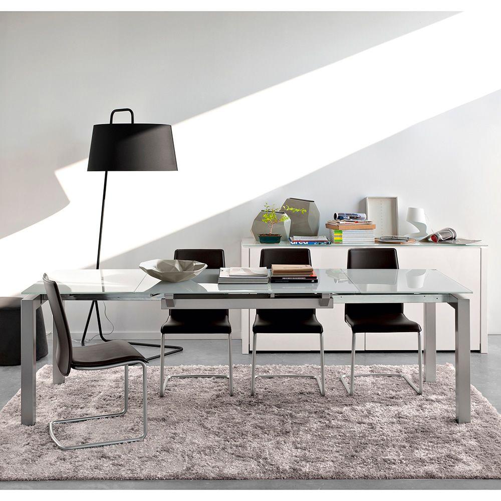 Cs4011 airport tavolo allungabile calligaris in metallo piano in vetro 130 x 90 cm sediarreda - Tavolo calligaris in vetro ...