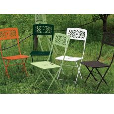 Gala 2526 - Folding steel chair for garden, in several colours