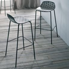 Alhambra S - Metal stool with technopolymer seat, available in different colours and heights, also for outdoor
