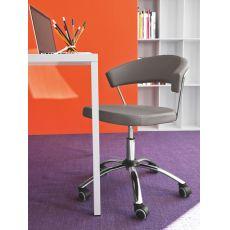 CB624 New York - Sedia per ufficio Connubia - Calligaris, girevole e regolabile, in pelle o similpelle, diversi colori disponibili
