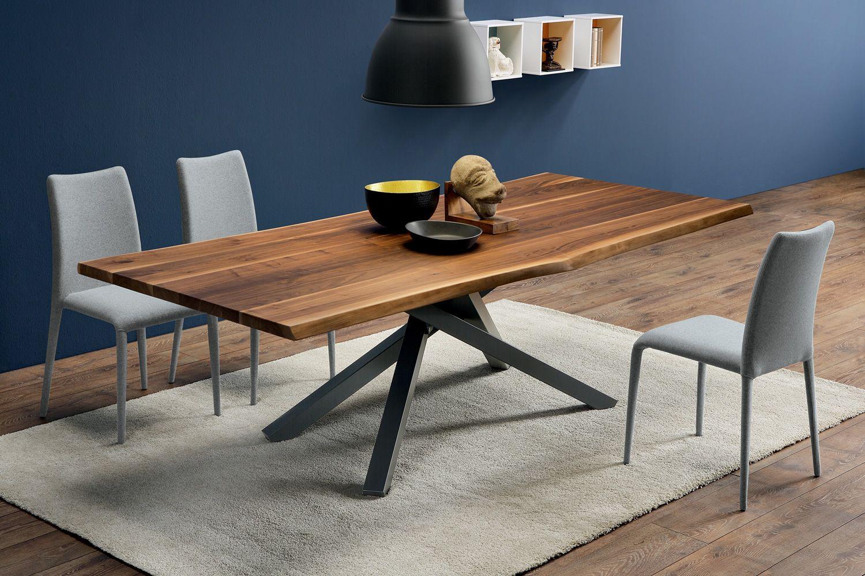 pechino tavolo fisso midj in metallo piano in legno