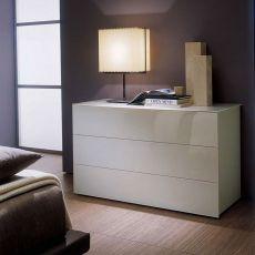 Enea 02 - Cassettiera Bontempi Casa, in legno e vetro, disponibile in diversi colori