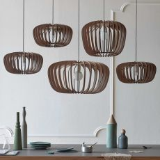 Coraline - Miniforms suspension lamp, in wood, available in different dimensions