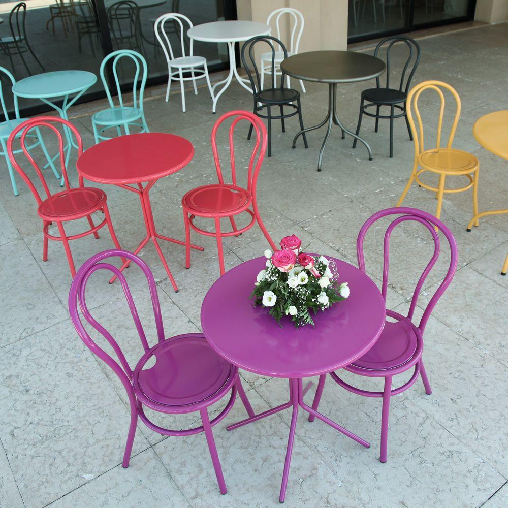 Rig83 pour bars et restaurants table ronde en m tal diam tre 60 cm en dif - Table ronde exterieur metal ...