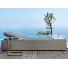 Chic - L - Bain de soleil moderne en aluminium et textilene, dossier réglable