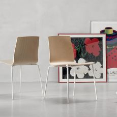 Alice Wood 2845 - Modern chair for bars and restaurants, in metal, wooden seat, with or without armrest, stackable, available in different colours