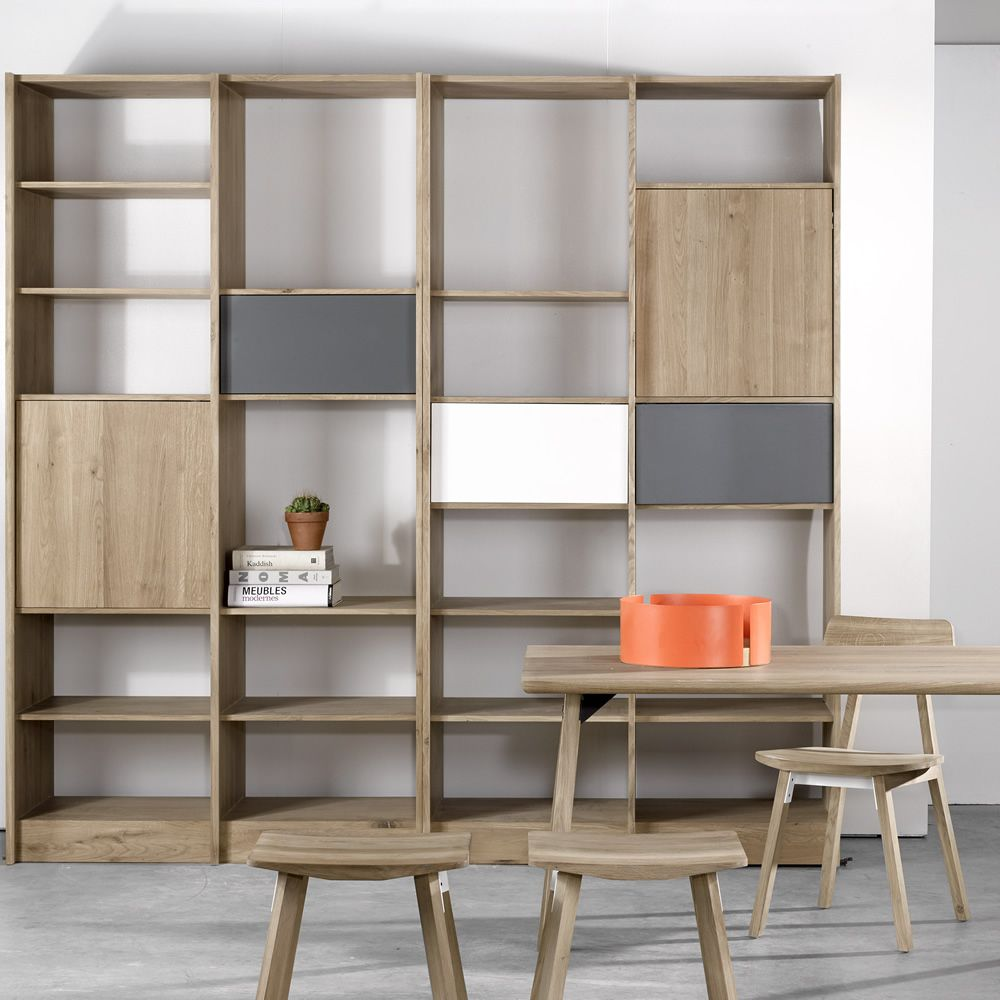 domino biblioth que universo positivo en bois avec l ments en m tal laqu sediarreda. Black Bedroom Furniture Sets. Home Design Ideas