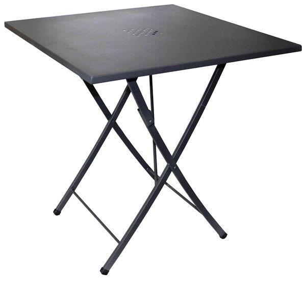 Zeus table pliante en acier 70x70 cm utilisation en for Table exterieur acier