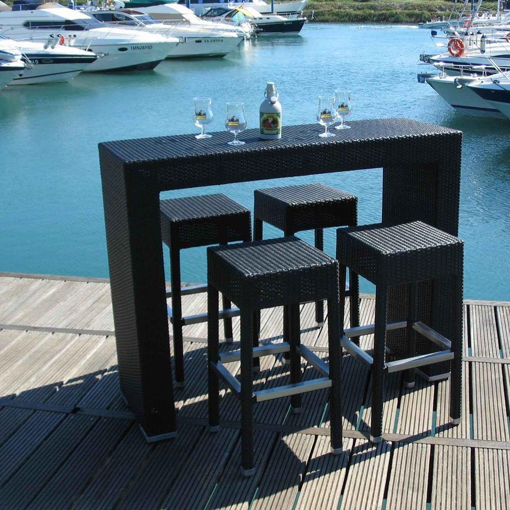AR-BT - Set da giardino in alluminio e simil rattan con tavolo alto ...