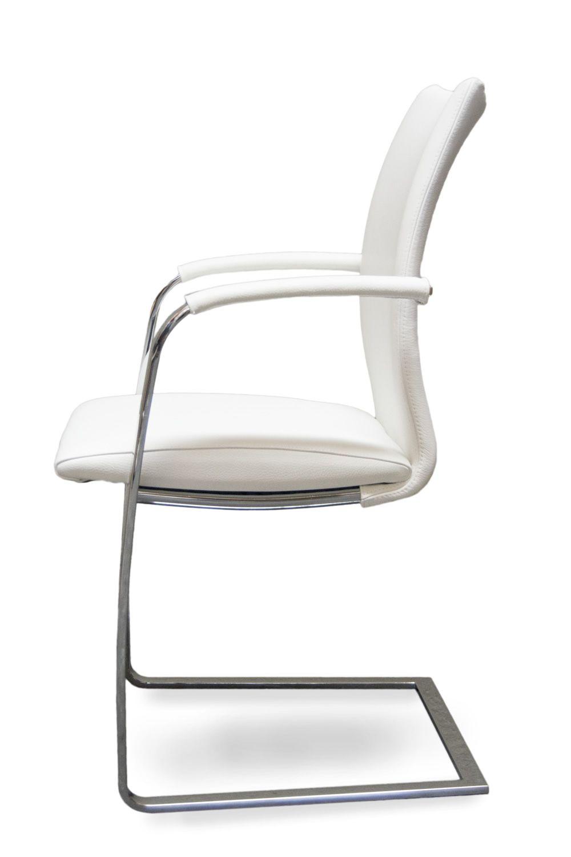 ... Swing P   Stuhl Mit Poliertem Stahlgestell Un Sitz Aus Weissem Leder