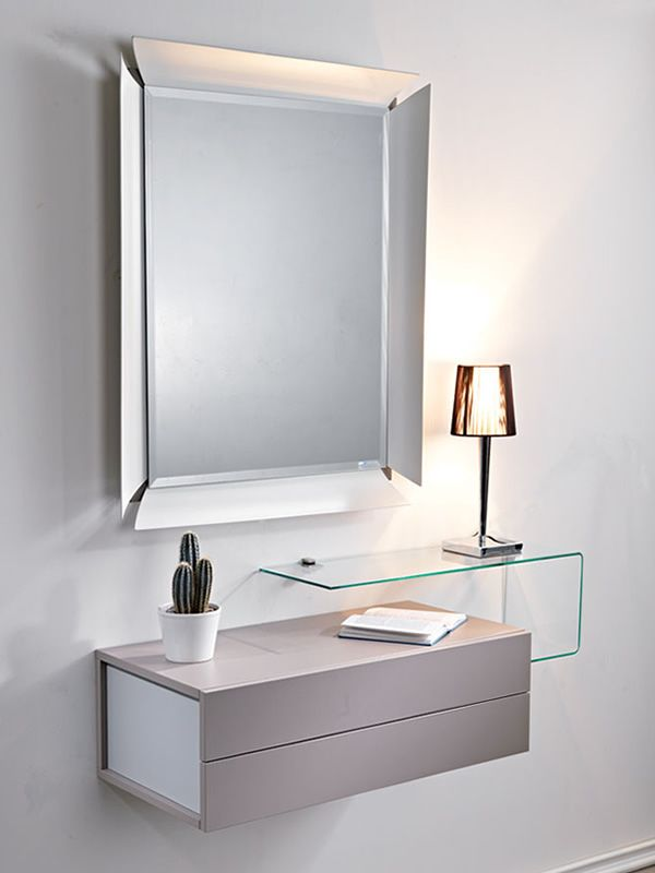 Due mobile ingresso con 2 cassetti specchio e mensola in vetro sediarreda - Specchio con mensola per ingresso ...