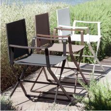 Ciak - Emu director chair, made of metal and net, folding, available in several colours, for garden