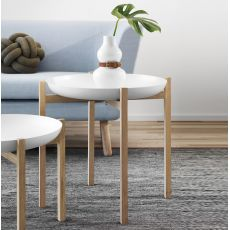 Tablo - Side table-tray made of wood, metal top, two different height available