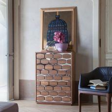 6118 Honey Night - Tonin Casa high wooden chest of drawers, 74 x 48 cm