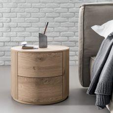 Christal-N - Table de chevet Dall'Agnese en bois, disponible en différentes finitions, deux tiroirs