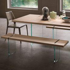 Agazia P - Panca di design, con gambe in vetro, seduta in diversi materiali e finiture